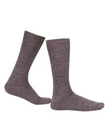 Pure Wool Socks 2PLY Ribbed Brown