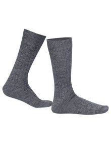 Pure Wool Socks 2PLY Ribbed Grey