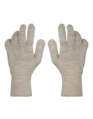 Pure Wool Hand Gloves Plain ladies Brown