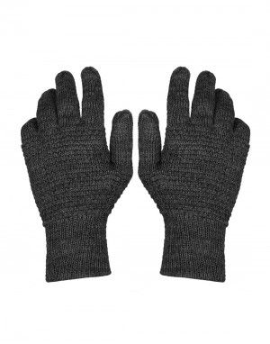 Womens Pure Wool Gloves Tuck Black