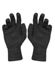 Womens Pure Wool Gloves Tuck Dark Grey