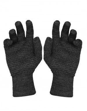Womens Pure Wool Gloves Tuck Dark Grey