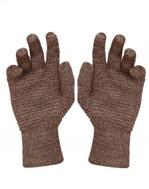 Womens Pure Wool Gloves Tuck Brown