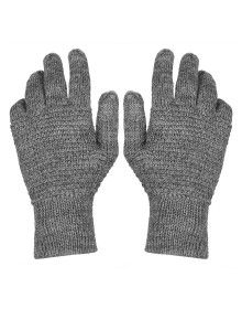 Womens Pure Wool Gloves Tuck Grey