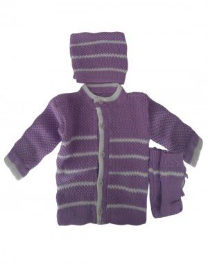 Baba Suit Self Design Purple