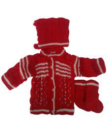 Baba Suit V Self Embroidery Red