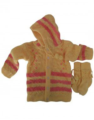 Baba Suit With Hood and Embroidery Work lemon