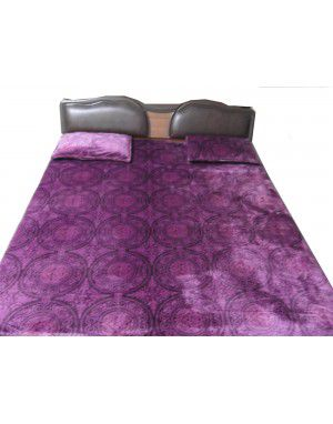 Winter bedsheet purple designer with 2 pillow Cover