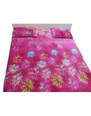 winter double bedsheet with 2 pillow cover pink