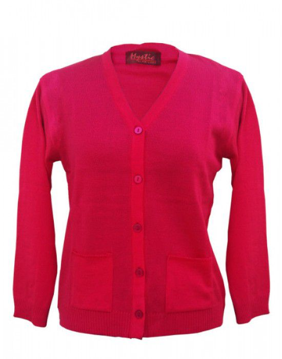 06f878769686 Shop Ladies Cardigan Plain Pink at Woollen Wear