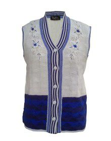 Lady Cardigan Embroidery SL Blue