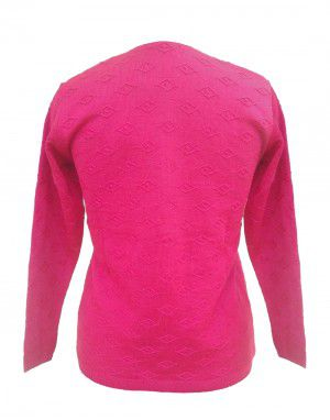 Ladies Cardigan FS Net Embroidery V Neck Pink