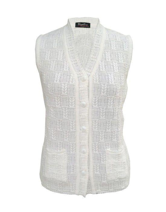 Lady Cardigan Pocket SL White