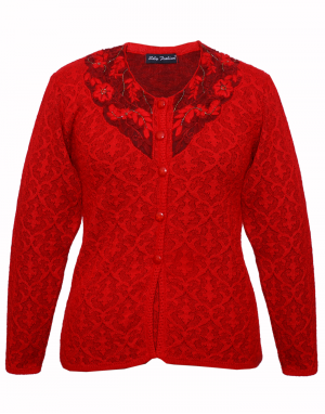 Ladies Designer Cardigan Embroidery with Stone on Neck