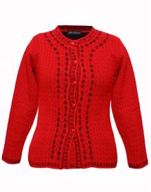 Ladies Designer Cardigan Red Black Brown
