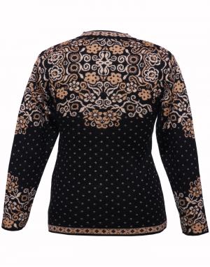 Ladies Designer Cardigan Embroidery Black on Neck