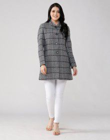 Women Woolen Coat button Black