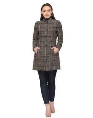 Women Woolen Coat button Camel