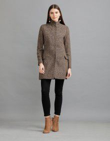 Women Woolen Coat Brown