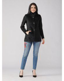 Ladies Coat Black Basic