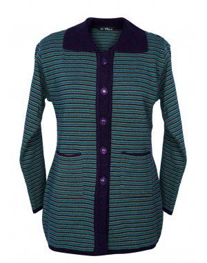 Girls Long Sweater Stripe Green