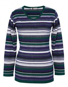 Girls Top Acrylic Wool With Stripes Round Neck
