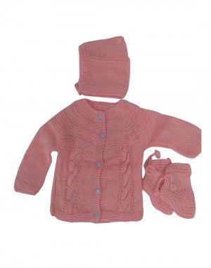 Handmade woolen suit self Baby Pink