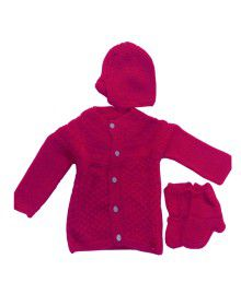 Handmade woolen suit self Pink