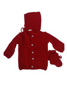 Handmade woolen suit self Red