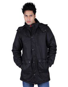 Mens Parka Style Long Sleeve Jacket Black