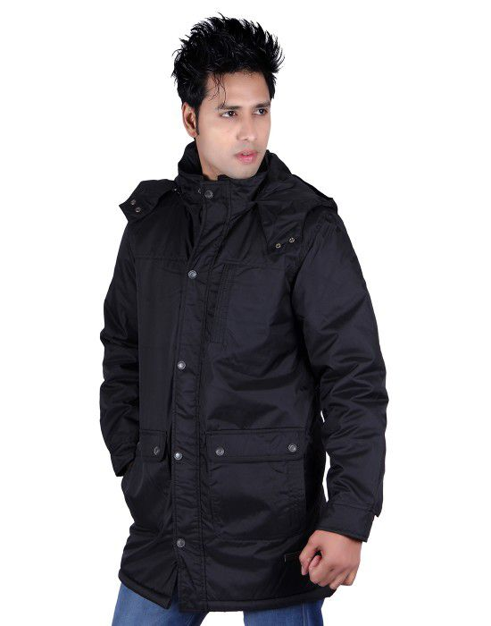 Mens Parka Style Long Sleeve Warm Jacket Black