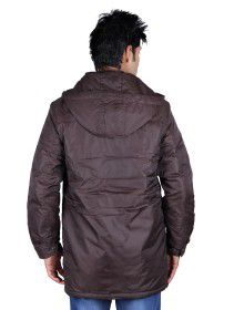 Mens Parka Style Long Sleeve Jacket Coffee