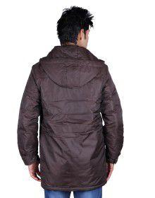 Mens Parka Style Long Sleeve Jacket Coffee