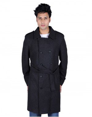 Mens Wool Over Coat Full sleeves Black