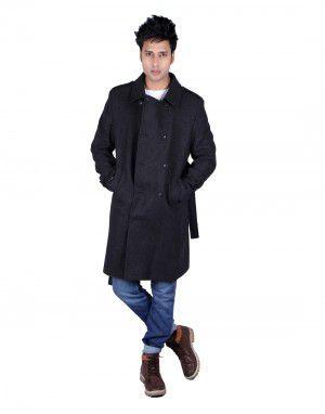 Mens Wool Over Coat Full sleeves Black
