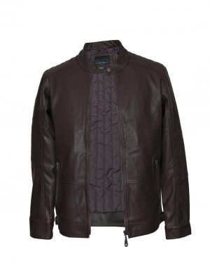 Men Jacket PU Coffee