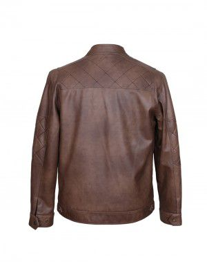 Men Jacket PU Mix and Match Coffee
