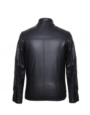 Men Jacket PU Square Punch Black