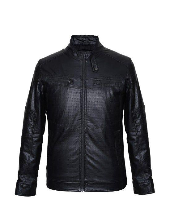 Men Jacket PU Square Punch Black