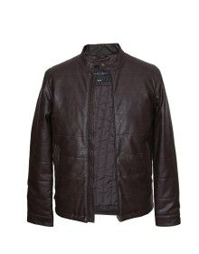 Men Jacket PU Full Punch  Coffee