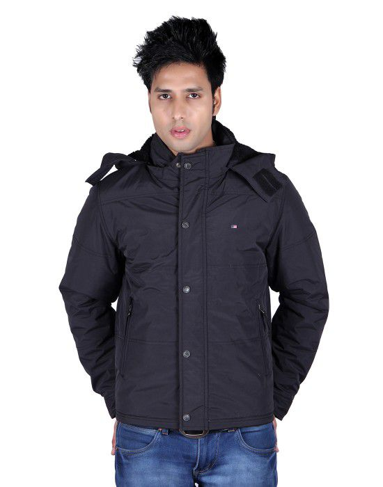 Mens Jacket Full Sleeve with Fur Black