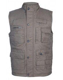 Mens Jacket Sleeveless Cargo Style Grey