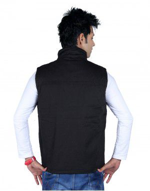 Mens Jacket Sleeveless Cargo Style Black
