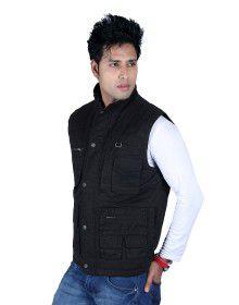 Mens Jacket Sleeveless Cargo Style Black