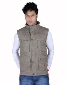 Mens Jacket Sleeveless Cargo Style Grey