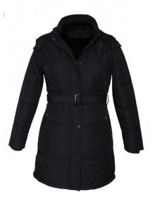 Ladies long Jacket with Belt Black