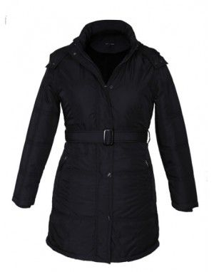 Ladies long Belted Jacket Black on Rent