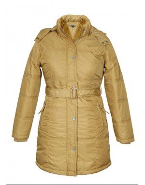 Ladies long Jacket with Belt Gold