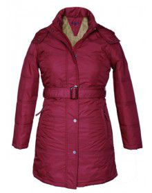 Ladies Plus size long Jacket with Belt Mulberry