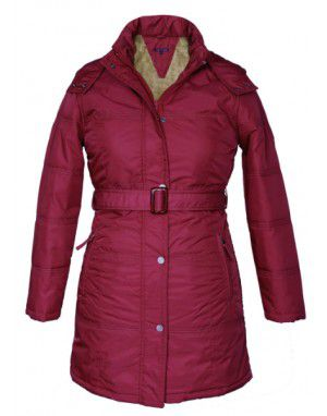 Ladies long Belted Jacket Mulberry on Rent